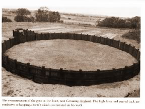 A reconstruction of an early round pen. The high fence and curved track keep a horse's mind concentrated on his work.