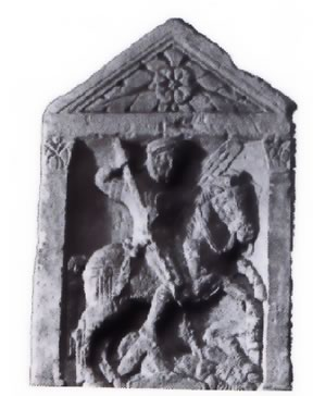All riding in the Roman cavalry had to be done with the left hand only, the same hand that had to hold the shield and a lance, leaving the rider free for fighting with the right hand. This is shown at right in this carved tombstone.