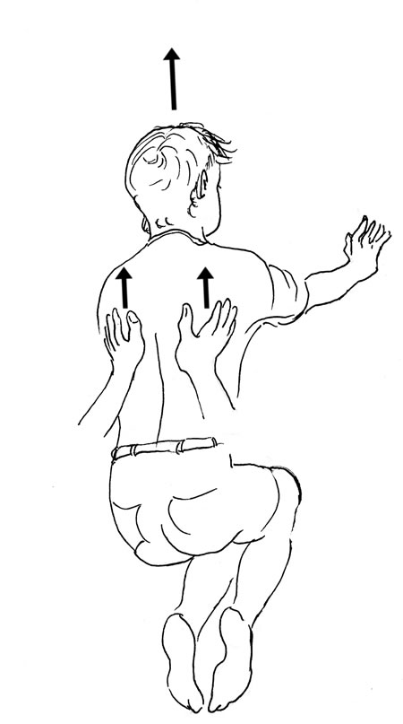 "When pressure is applied alternately left and right (right hand sending the ribcage of your ""horse"" to the left then left hand sending the rib cage of your ""horse"" right, you will get a swinging action in the rib cage. The ""horse's"" head will generally move in the opposite direction of the rib cage. In other words, using alternate pressure of your seat left and right will cause the horse to swing the rib cage side to side, which causes a ""waddling"" effect resulting in a decrease of forward motion."