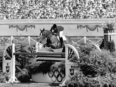 Calypso and Melanie anchoring the gold medal show jumping team at the Los Angeles Olympics in 1984. Photo by Tish Quirk.