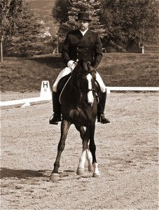 Jim and Esprit riding the Intermediare-1 dressage test at a USDF, USEF-rated show.