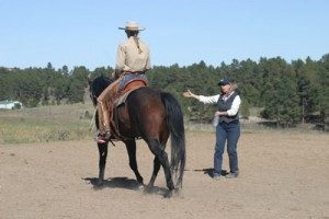 Wendy Murdoch instructing our student rider Melinda Ballard on her horse Cherokee.
